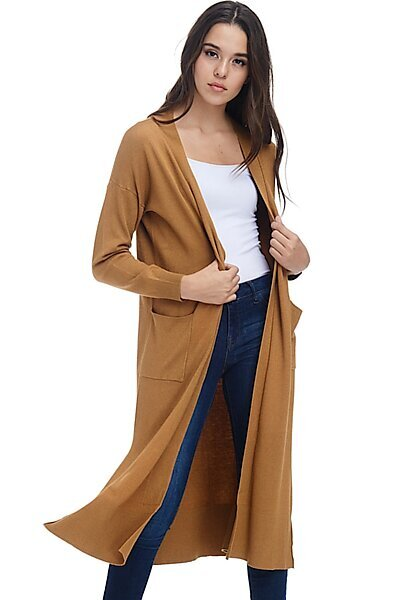 Casual Longline Knit Cardigan Sweater W Side Slits-Heather Mustard