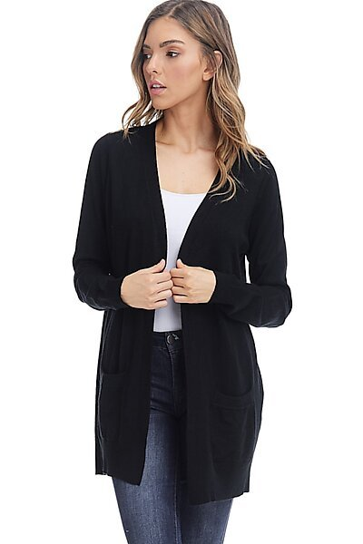 Basic Open Cardigan Sweater - Straight Long Fall Knit-Black
