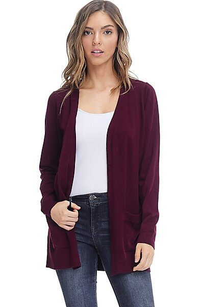 Basic Open Cardigan Sweater - Straight Long Fall Knit-Plum