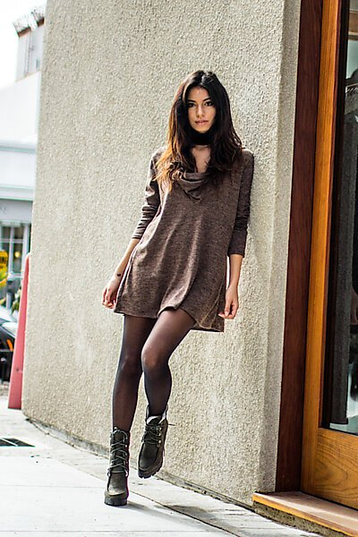 Brushed Long Sleeve Cowl Neck Sweater Tunic W/ Hoodie-Mocha