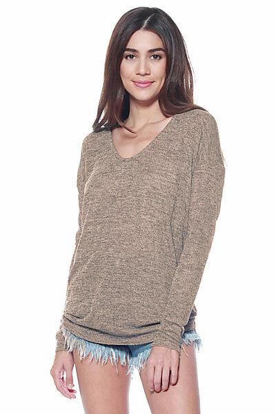 Thin Soft Knit Dolman Sleeve Pullover Sweater-Mocha