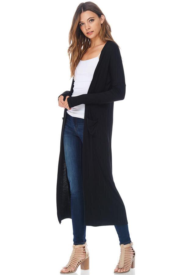 Casual Maxi Duster Cardigan Sweater W/ Pockets-Black