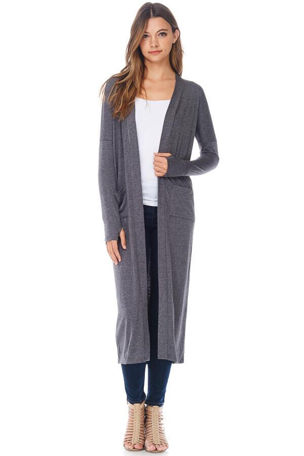 Casual Maxi Duster Cardigan Sweater W/ Pockets-Dark Heather Grey