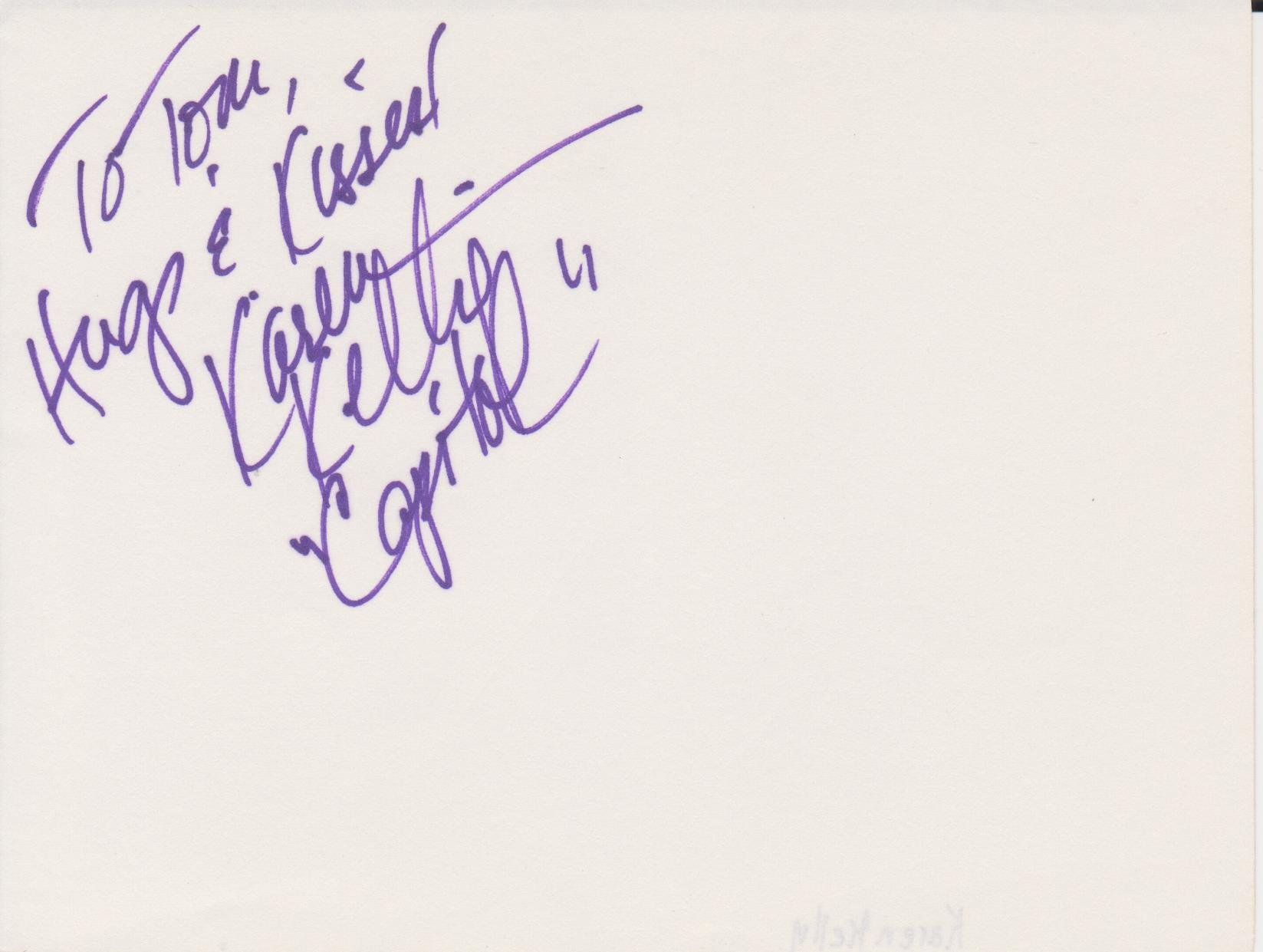 Karen Kelly signed in person album page