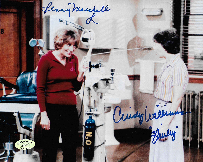 Cindy Williams & Penny Marshall (1943-2018) Laverne & Shirley w/ Ed Richard COA 9