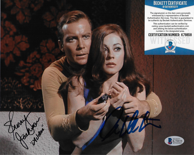 William Shatner & Sherry Jackson Star Trek TOS 8X10 w/Beckett COA #2