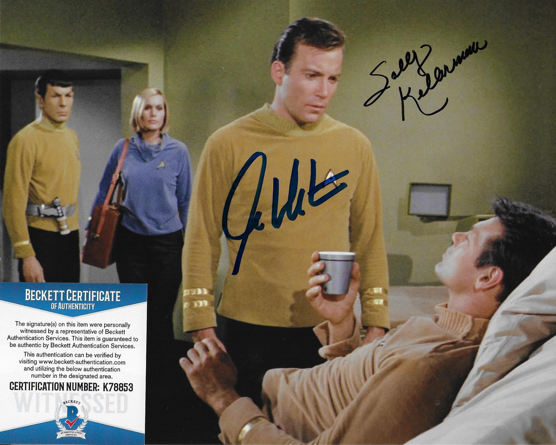 William Shatner & Sally Kellerman Star Trek TOS 8X10 w/Beckett COA #2