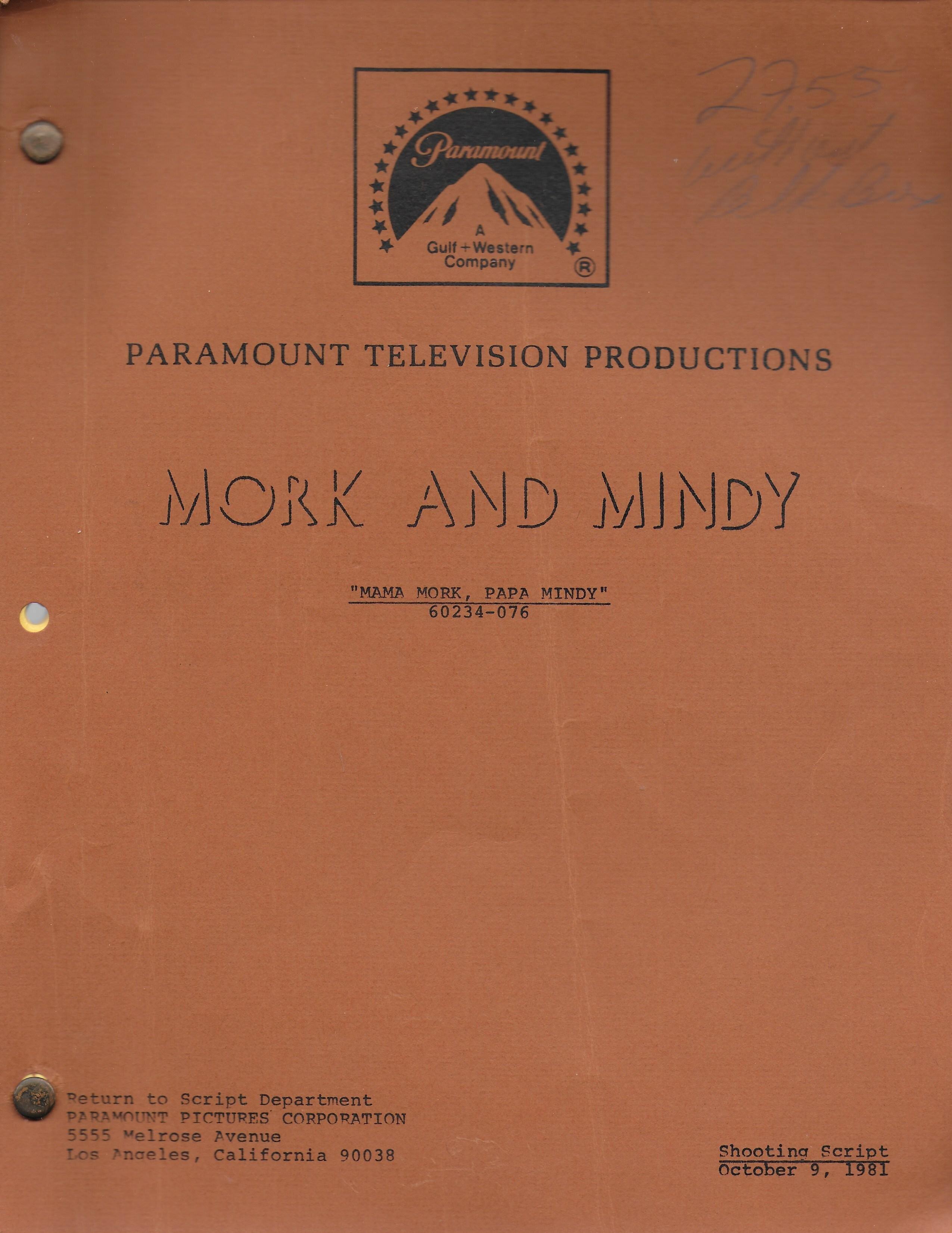 "Mork & Mindy ""Mama Mork, Papa Mindy"" Original  Script"