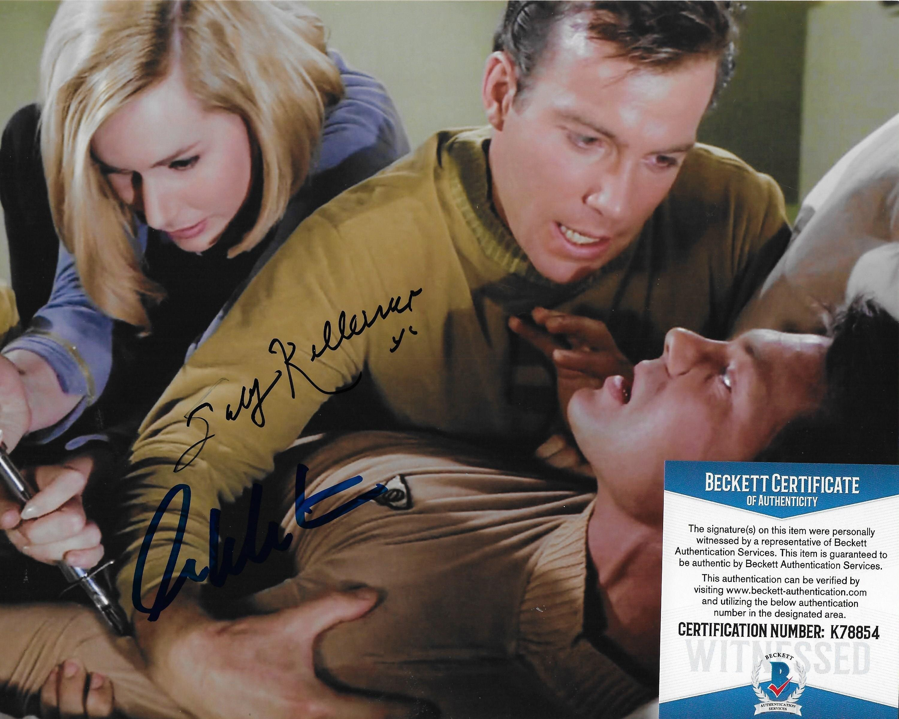 William Shatner & Sally Kellerman and Nichelle Nichols Star Trek TOS 8X10 w/Beckett COA #4