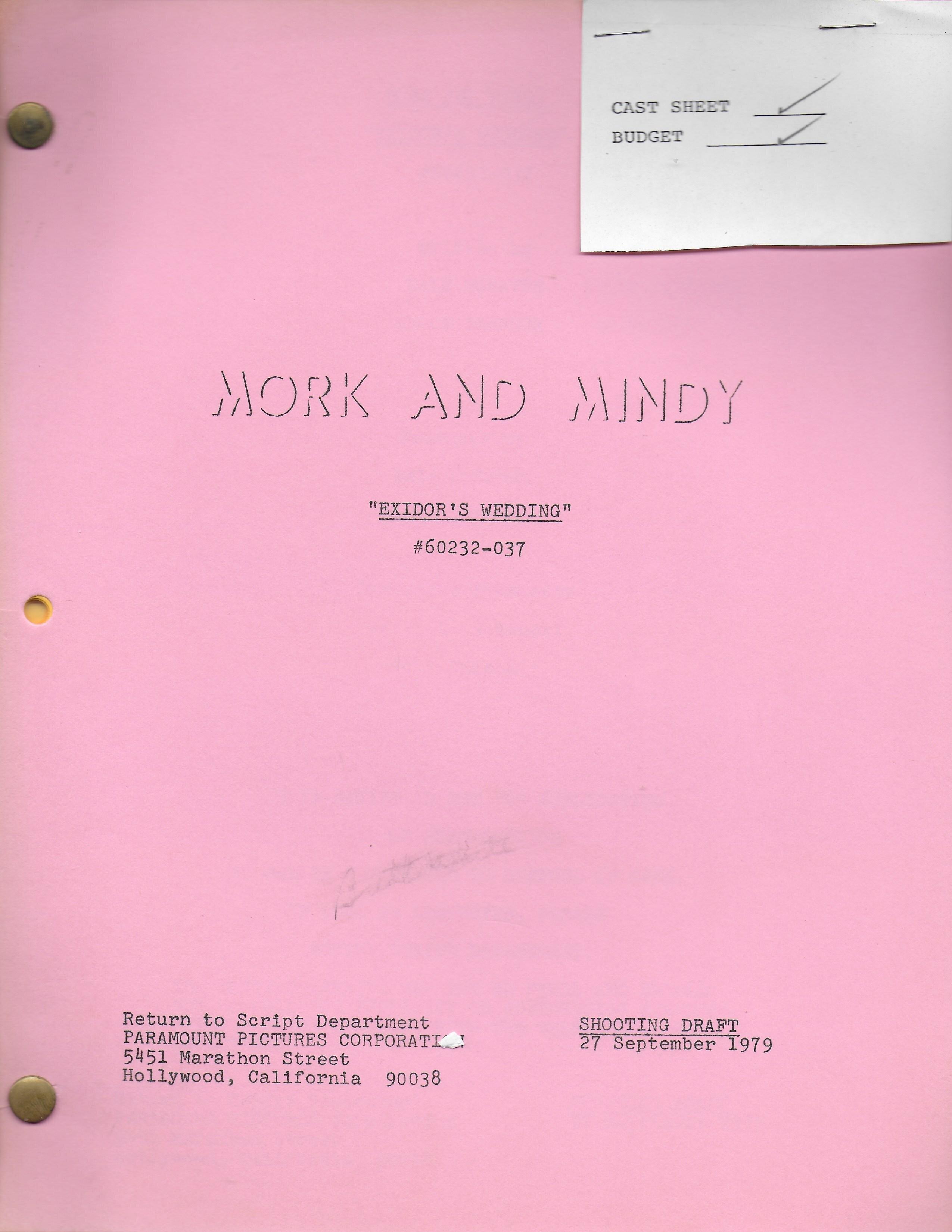 "Mork & Mindy ""Exidor's Wedding"" Original Script"