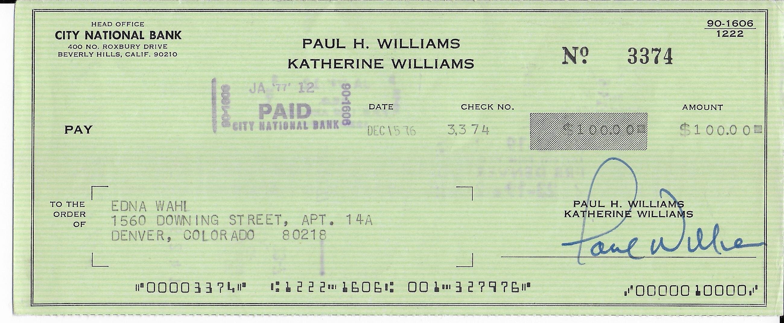 Paul Williams signed cancelled check + photo