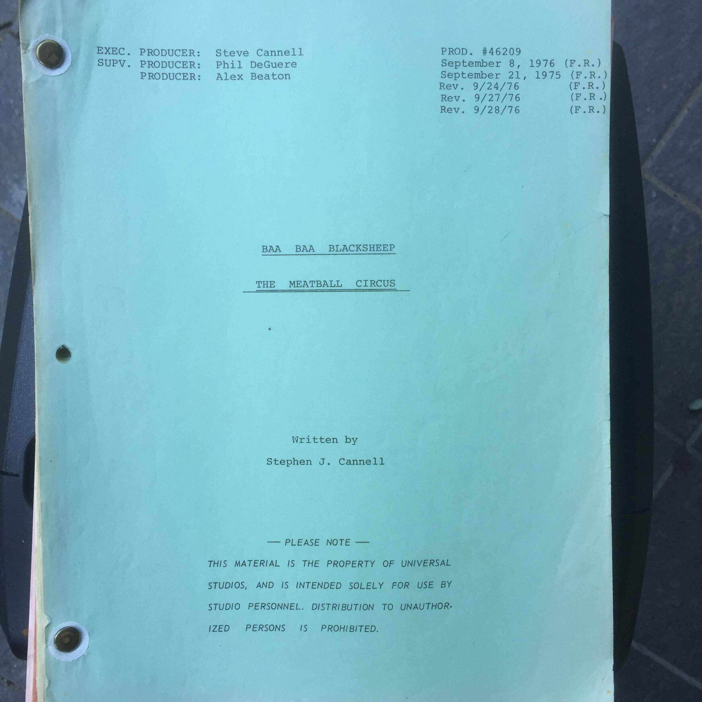 "Baa Baa Blacksheep ""The Meatball Circus"" Original Script"