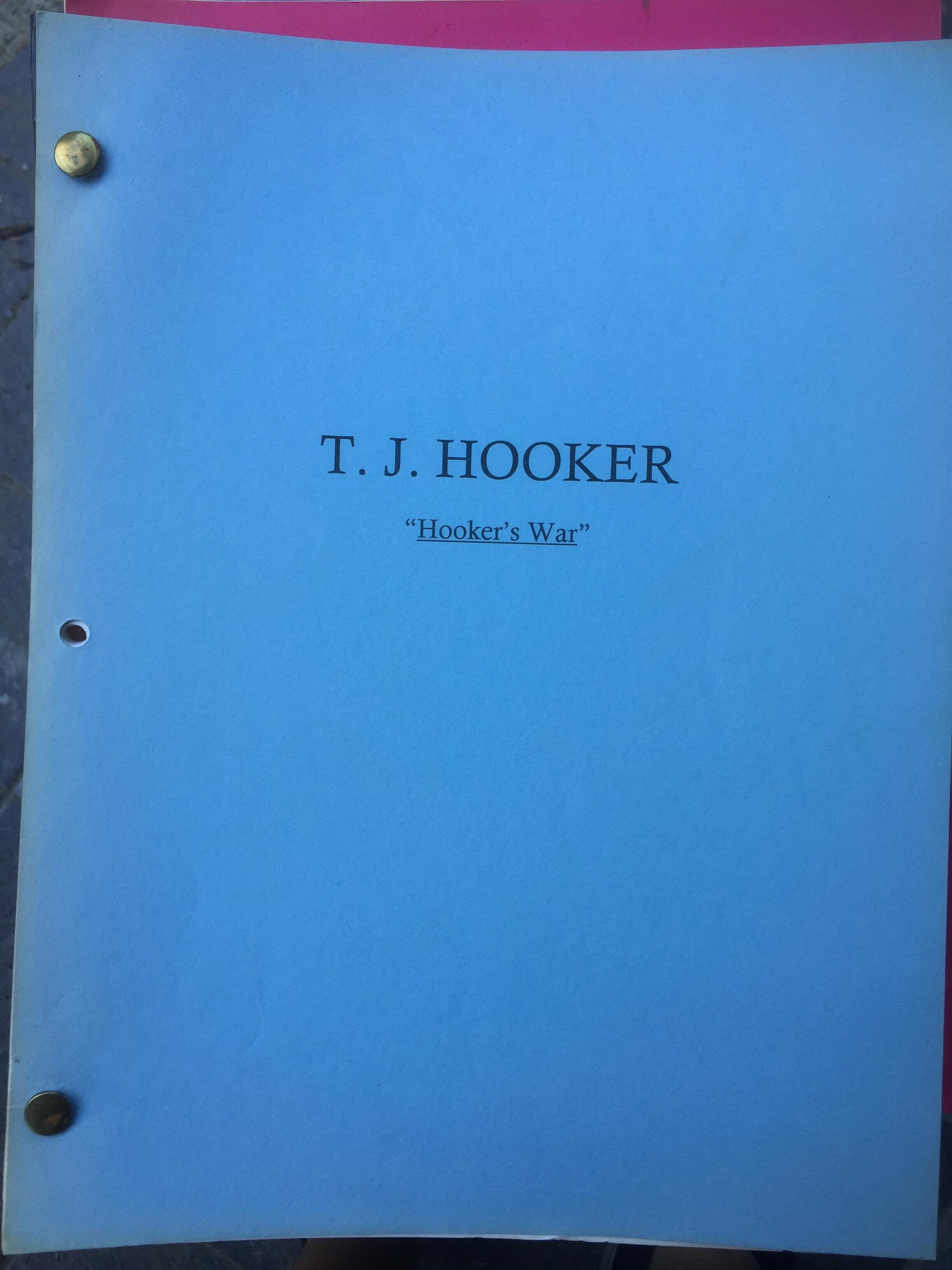 """TJ Hooker """"Hookers War"""" Original Script"""