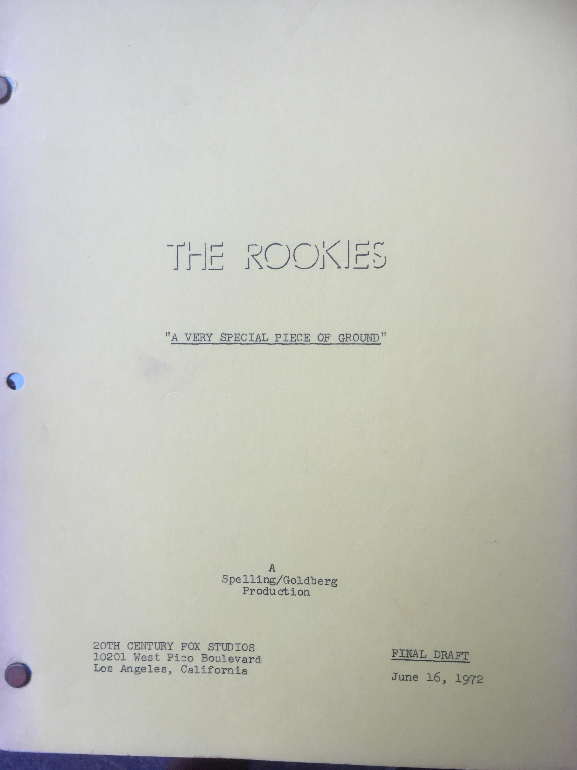 "The Rookies ""A Very Special Piece Of The Ground Original Script"