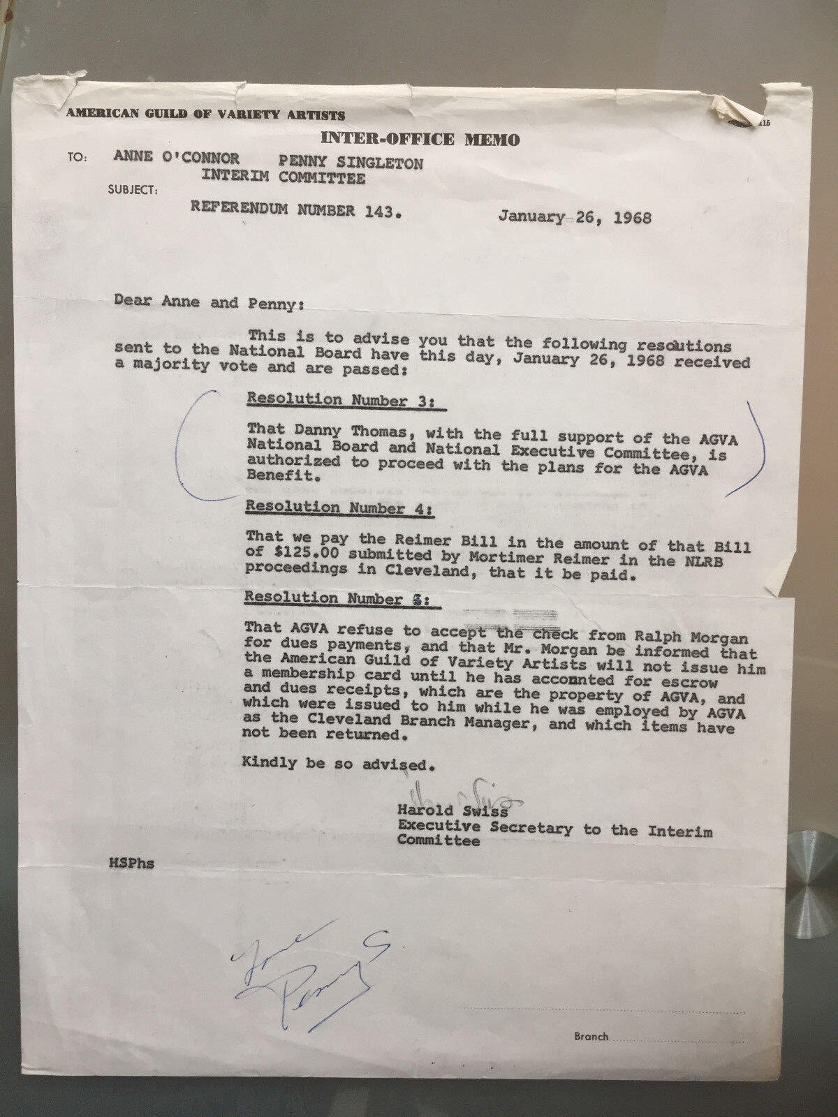 "Penny Singleton signed contract 1968 ""Blondie & Dagwood"""