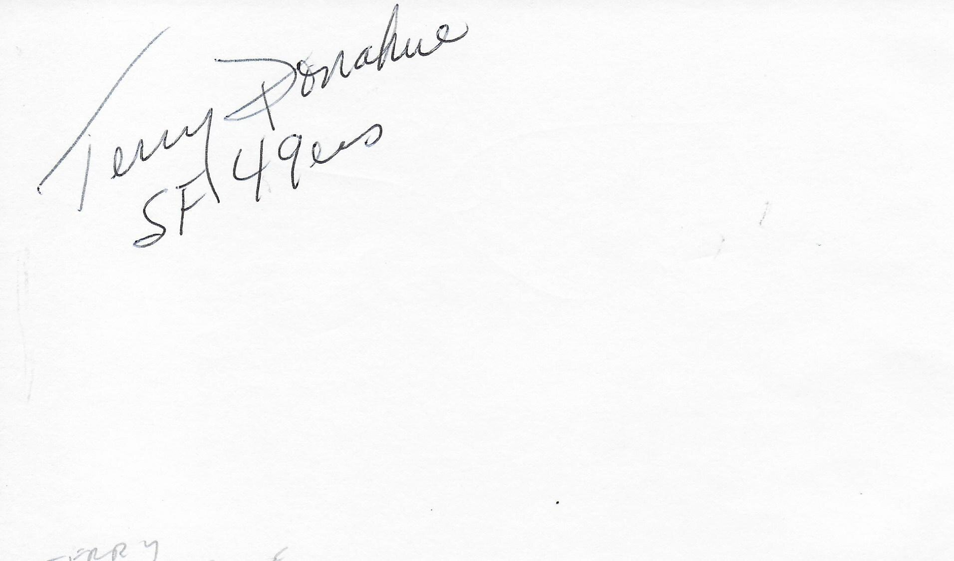 Terry Donahue SF 49ers signed album page/card