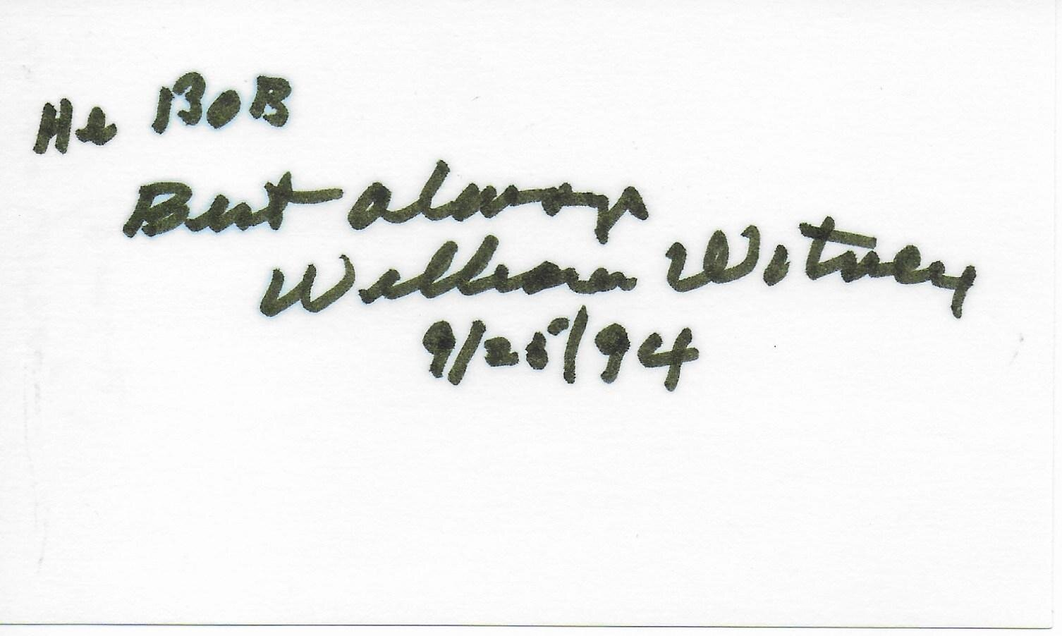 William Witney signed album page/card (personalized to Bob)