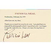 Patricia Neal signed in person 2X4 index card #2