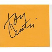 Tony Curtis signed in person 2X4 index card