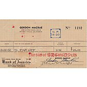 Gordon MacRae signed cancelled check
