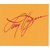 Larry Hagman signed in person 2X4 index card