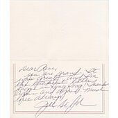 Francis Albert Frank Sinatra personally signed greeting card