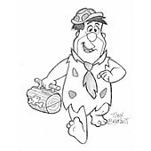 Fred Flinstone drawing print signed by artist Tony Benedict