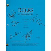 Rules of Engagement script signed by Patrick Warburton, Megyn Price, Oliver Hudson, Bianca Kajlick, and David Spade