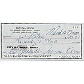 Joanna Kerns signed cancelled check + photo