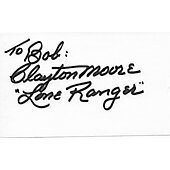 Clayton Moore Lone Ranger signed album page/card  (personalized to Bob)