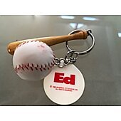 Ed mini baseball and bat promo keychain