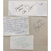 Lot of 4 Vintage Autographs & Notes including Walter Koenig, Joey Bishop Ben Gazzara & Pat Boone
