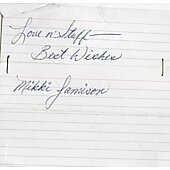 Mikki Jamison (1944-2013) signed in person index card #2