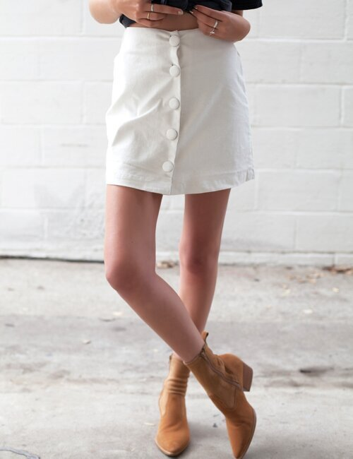 Calvin White Corduroy Skirt