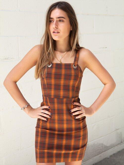 Willow Orange Plaid Dress