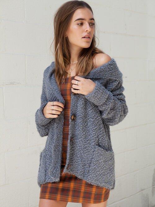 Aspen Fuzzy Cardigan -Grey