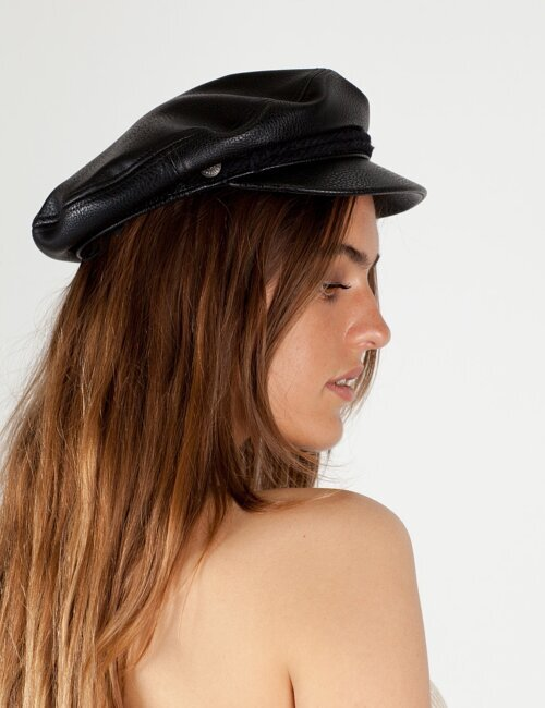 Black Leather Fiddler Cap