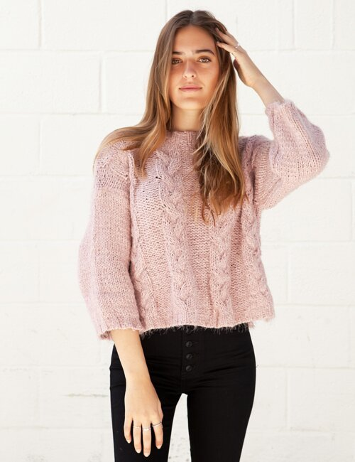 Maybird Pink Cable Knit Sweater