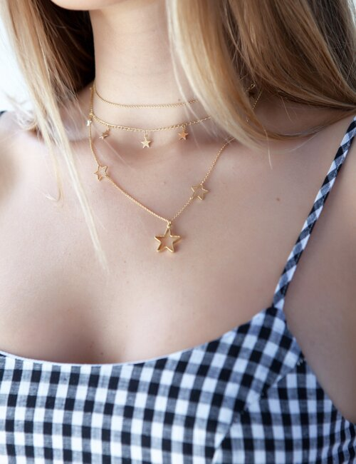 Layered Gold Star Necklace