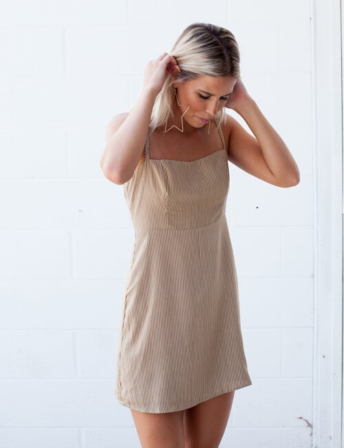 Austen Tan Striped Dress