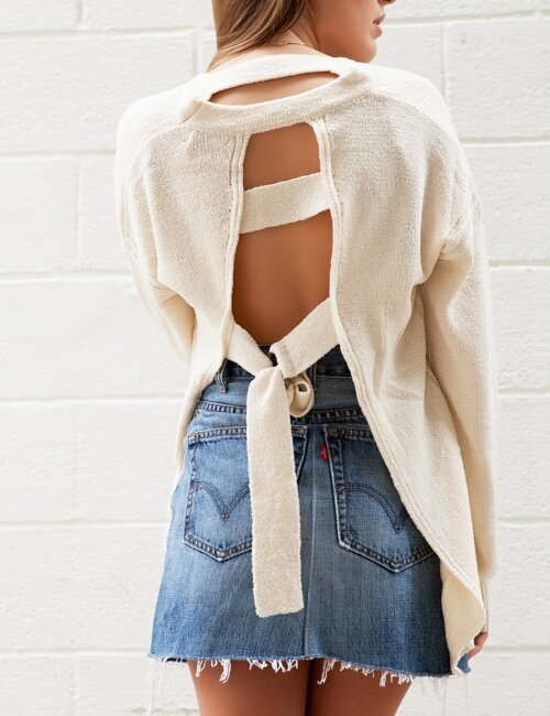 Ashlyn Cut Out Cream Sweater