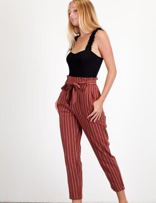 Valentina Cinnamon Striped Pants