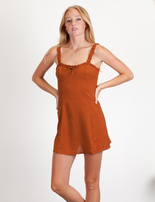 Follow Your Arrow Rust Polka Dot Dress