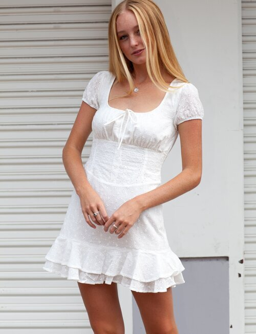 Hometown Glory White Eyelet Dress