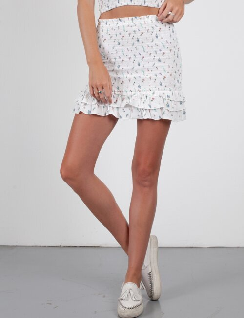 G.N.O. White Smocked Skirt