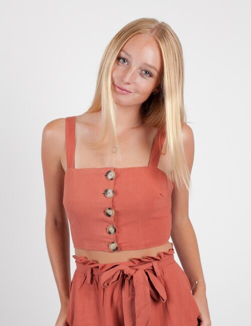Summer Games Rust Button Top