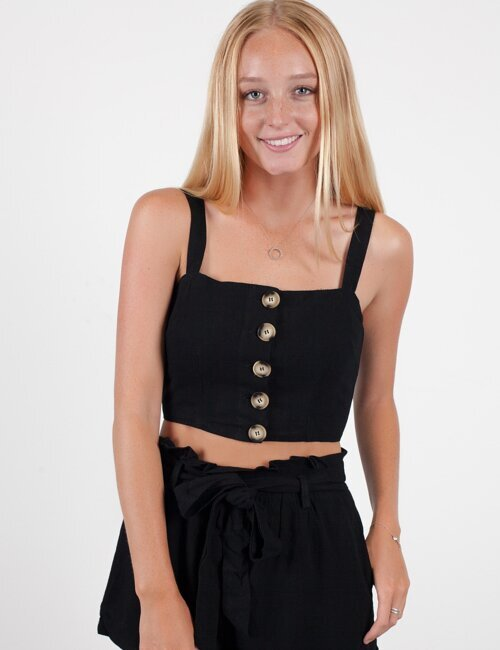 Summer Games Black Button Top