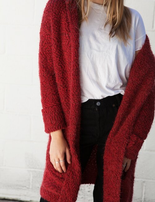 Elouise Red Fuzzy Long Cardigan