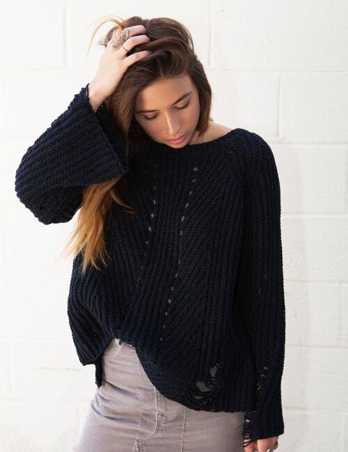 Amanda Navy Distressed Sweater