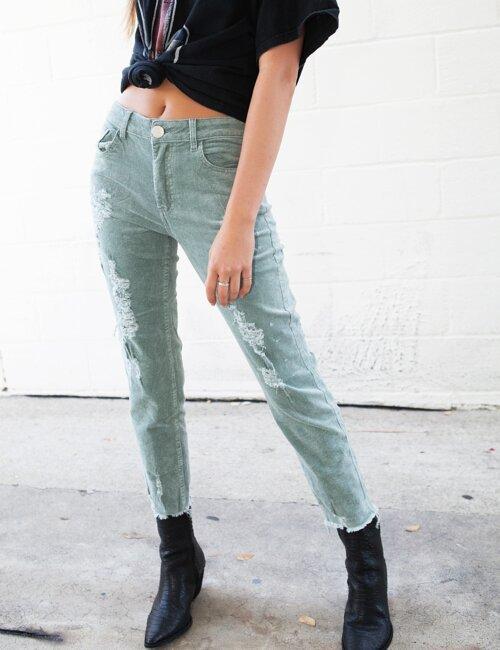 Take Me Out Sage Corduroy Jeans